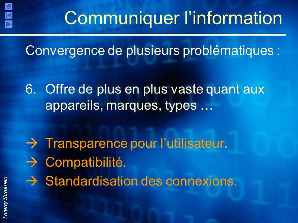 Thierry Schanen Communiquer linformation 6.Offre de plus en plus vaste quant aux appareils, marques, types … Transparence pour lutilisateur. Compatibi