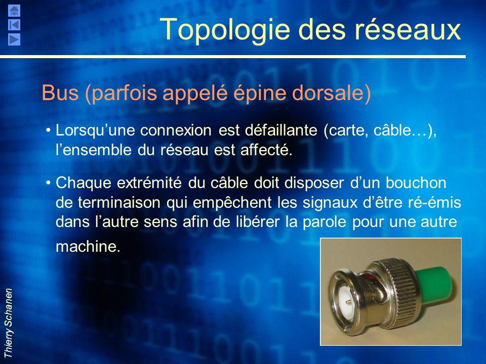 Thierry Schanen Topologie des réseaux Bus (parfois appelé épine dorsale) Lorsquune connexion est défaillante (carte, câble…), lensemble du réseau est