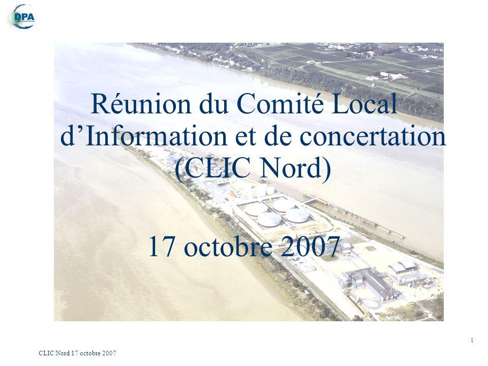 1 CLIC Nord 17 octobre 2007 Réunion du Comité Local dInformation et de concertation (CLIC Nord) 17 octobre 2007