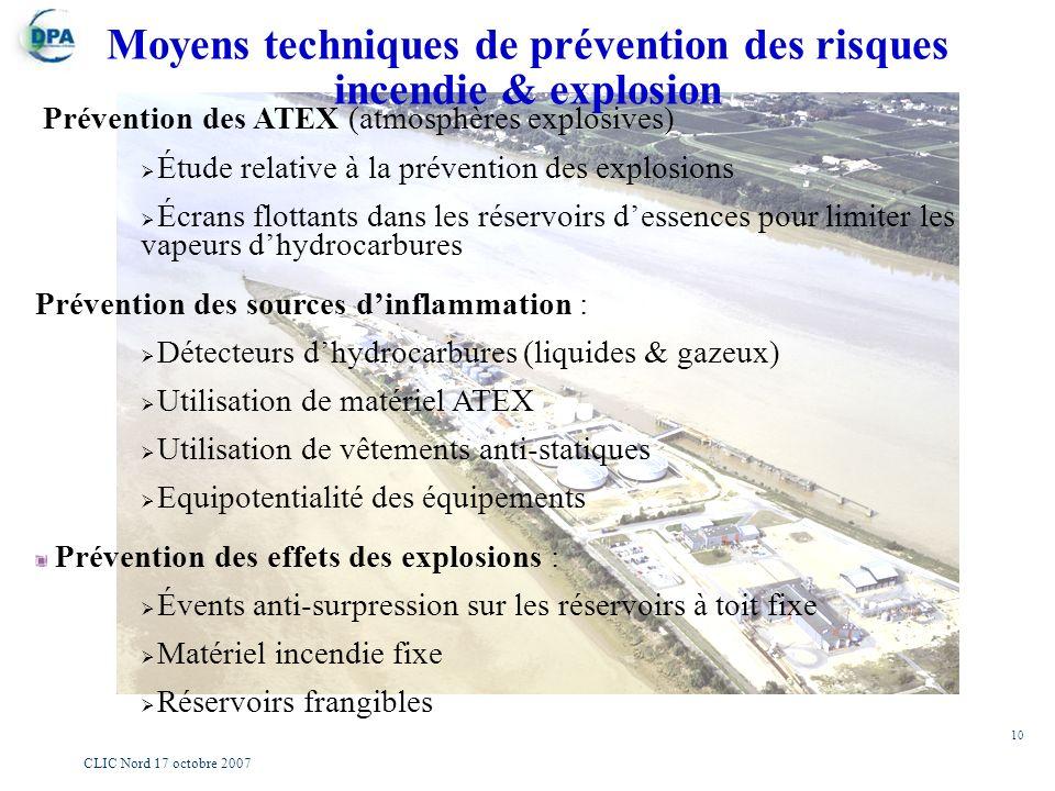 10 CLIC Nord 17 octobre 2007 Moyens techniques de prévention des risques incendie & explosion Prévention des ATEX (atmosphères explosives) Étude relat