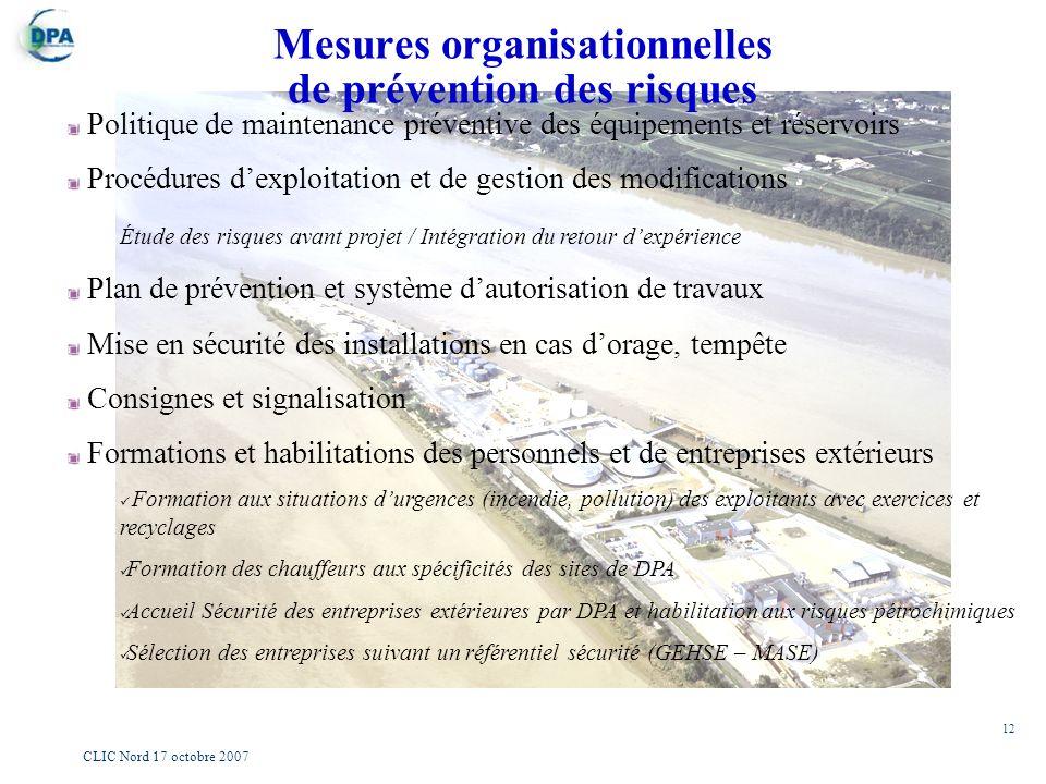 12 CLIC Nord 17 octobre 2007 Mesures organisationnelles de prévention des risques Politique de maintenance préventive des équipements et réservoirs Pr