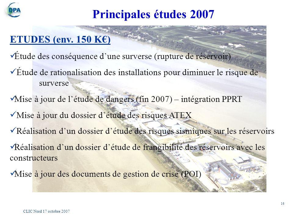 16 CLIC Nord 17 octobre 2007 ETUDES (env. 150 K) Étude des conséquence dune surverse (rupture de réservoir) Étude de rationalisation des installations
