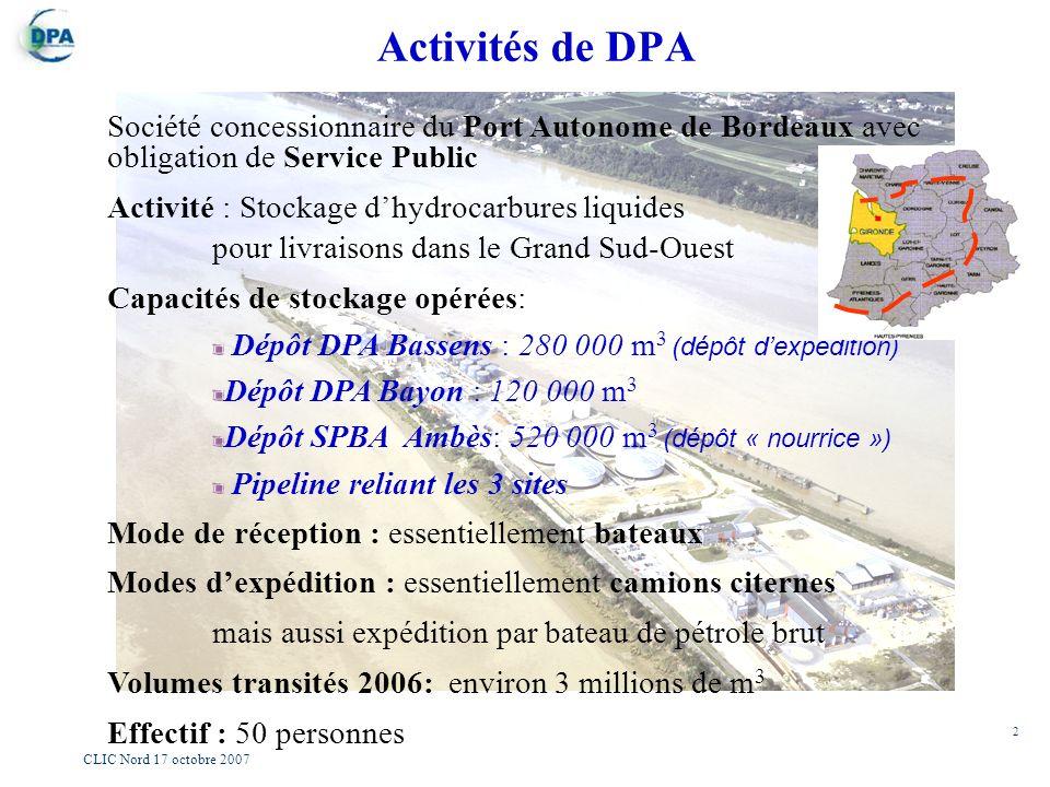 2 CLIC Nord 17 octobre 2007 Société concessionnaire du Port Autonome de Bordeaux avec obligation de Service Public Activité : Stockage dhydrocarbures