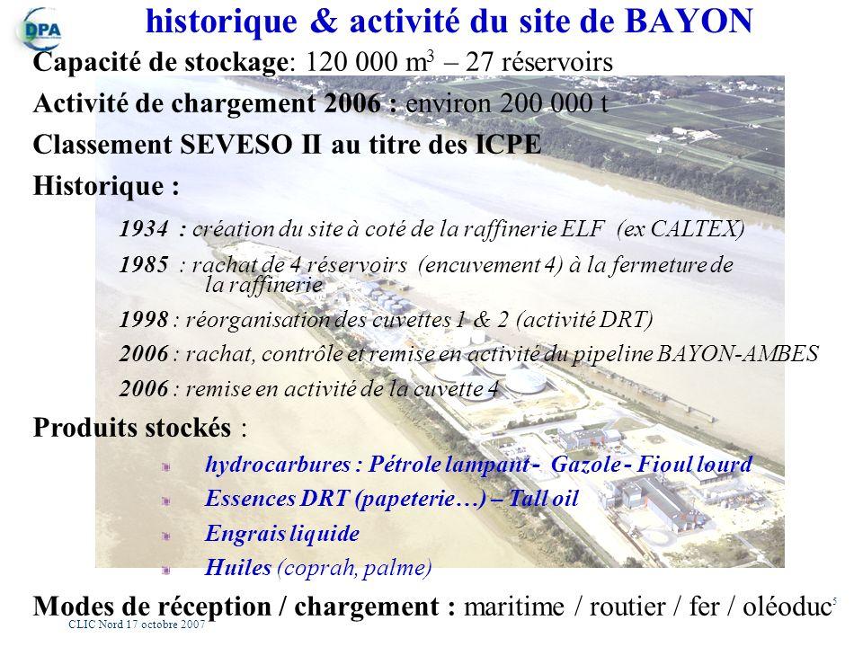 5 CLIC Nord 17 octobre 2007 historique & activité du site de BAYON Capacité de stockage: 120 000 m 3 – 27 réservoirs Activité de chargement 2006 : env