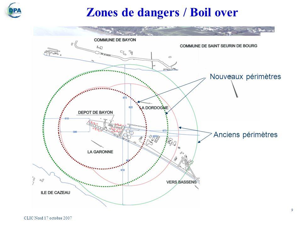 9 CLIC Nord 17 octobre 2007 Zones de dangers / Boil over Nouveaux périmètres Anciens périmètres