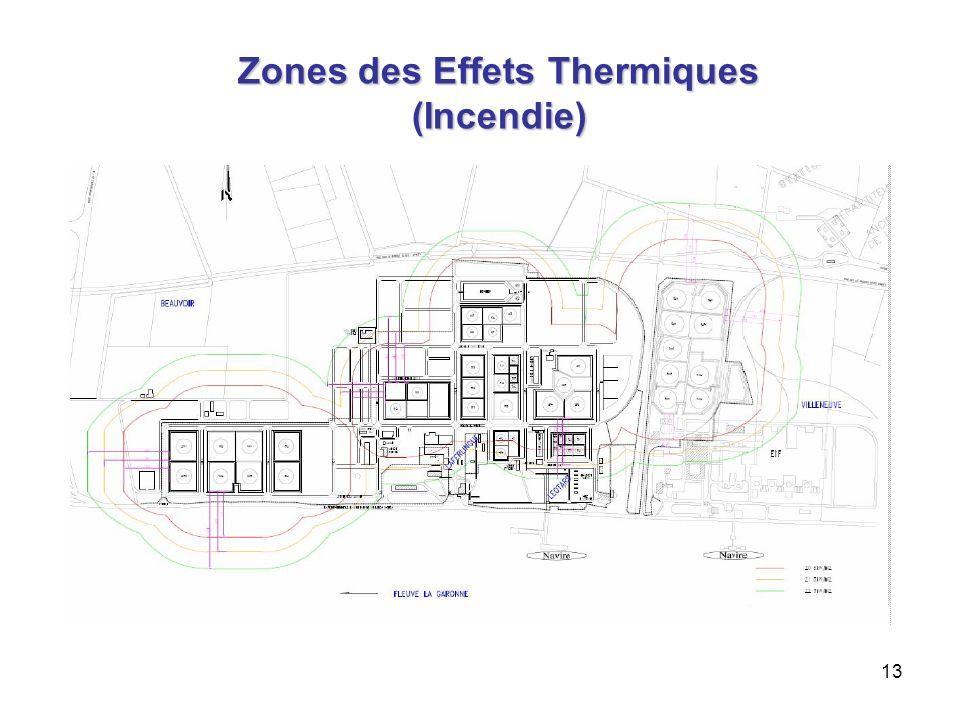 13 Zones des Effets Thermiques (Incendie) 8 kW/m 2 5 kW/m 2 3 kW/m 2