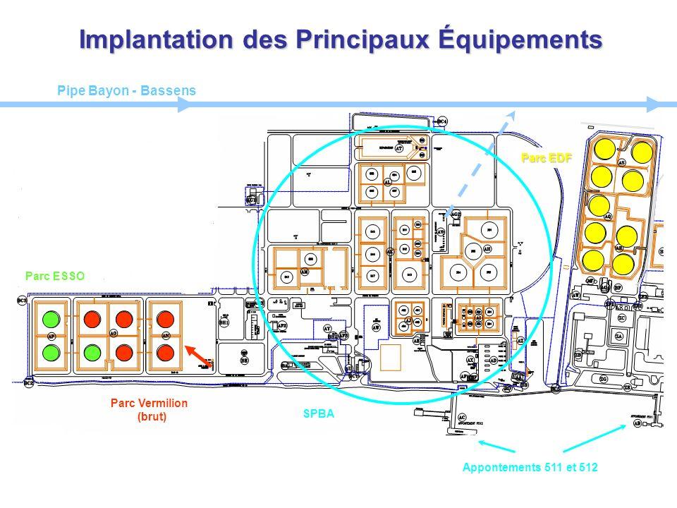 5 Implantation des Principaux Équipements Parc ESSO Parc Vermilion (brut) SPBA Appontements 511 et 512 Parc EDF Pipe Bayon - Bassens