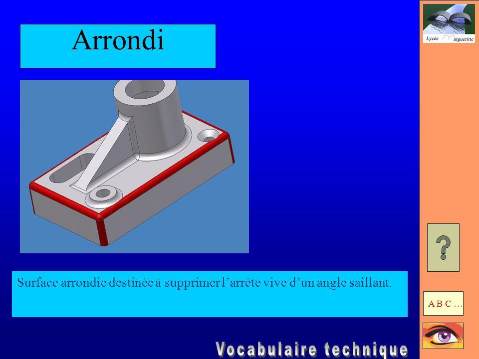 Congé Surface arrondie qui raccorde deux surfaces formant un angle rentrant. A B C …