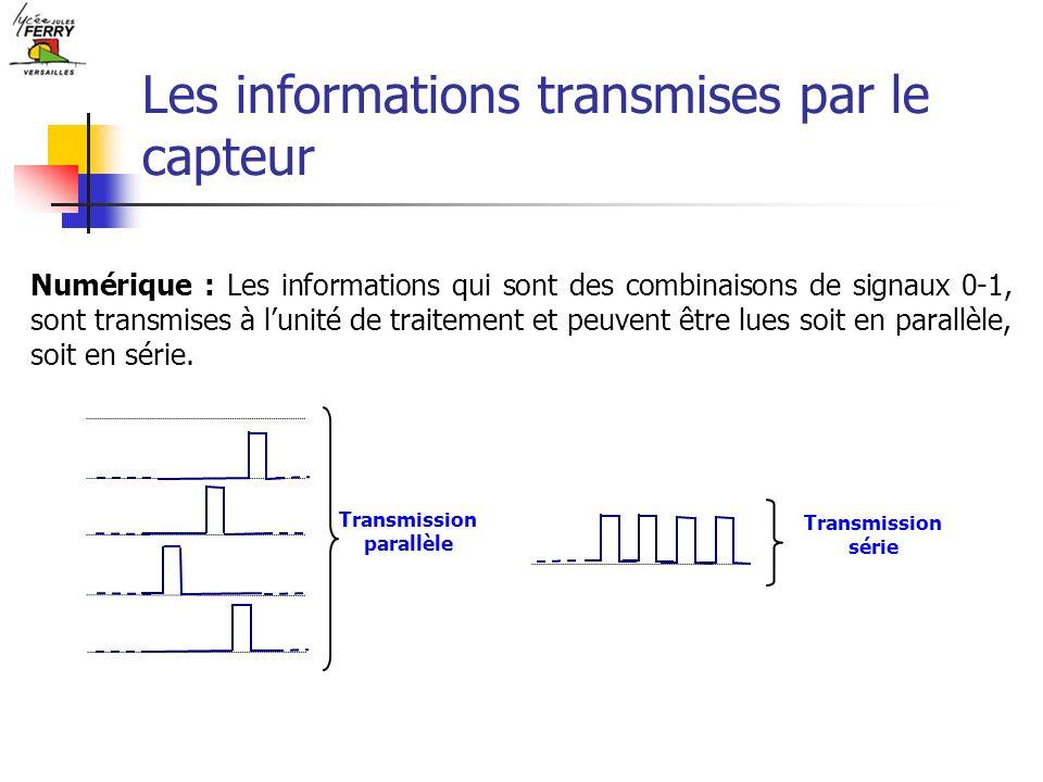 Les informations transmises par le capteur Numérique : Les informations qui sont des combinaisons de signaux 0-1, sont transmises à lunité de traiteme