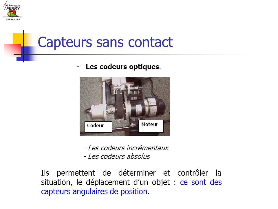 Capteurs sans contact - Les codeurs optiques. Codeur Moteur - Les codeurs incrémentaux - Les codeurs absolus Ils permettent de déterminer et contrôler
