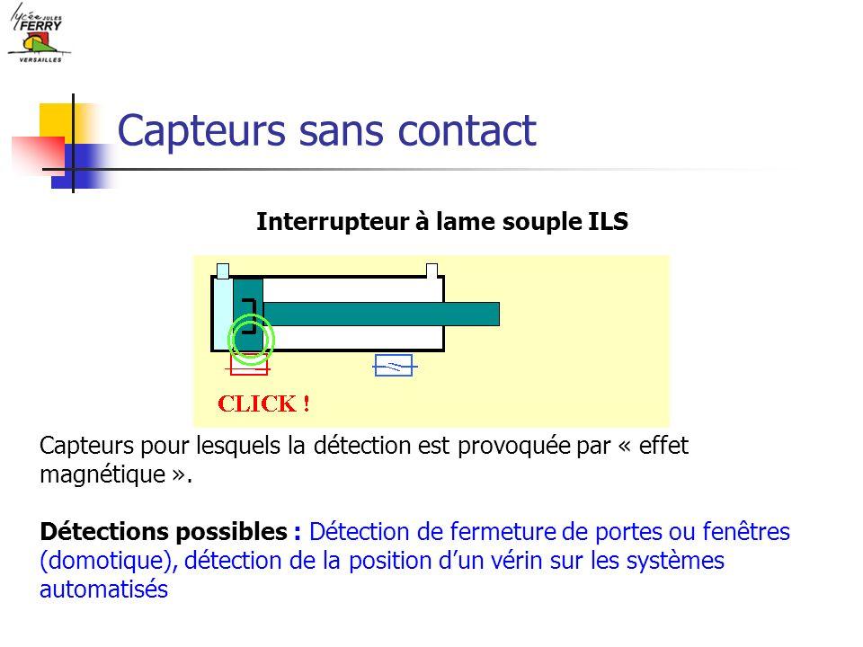 Capteurs sans contact Interrupteur à lame souple ILS Capteurs pour lesquels la détection est provoquée par « effet magnétique ». Détections possibles