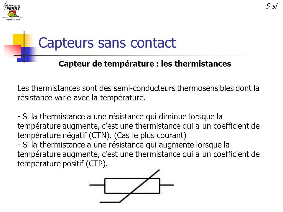 Capteurs sans contact S si Capteur de température : les thermistances Les thermistances sont des semi-conducteurs thermosensibles dont la résistance v