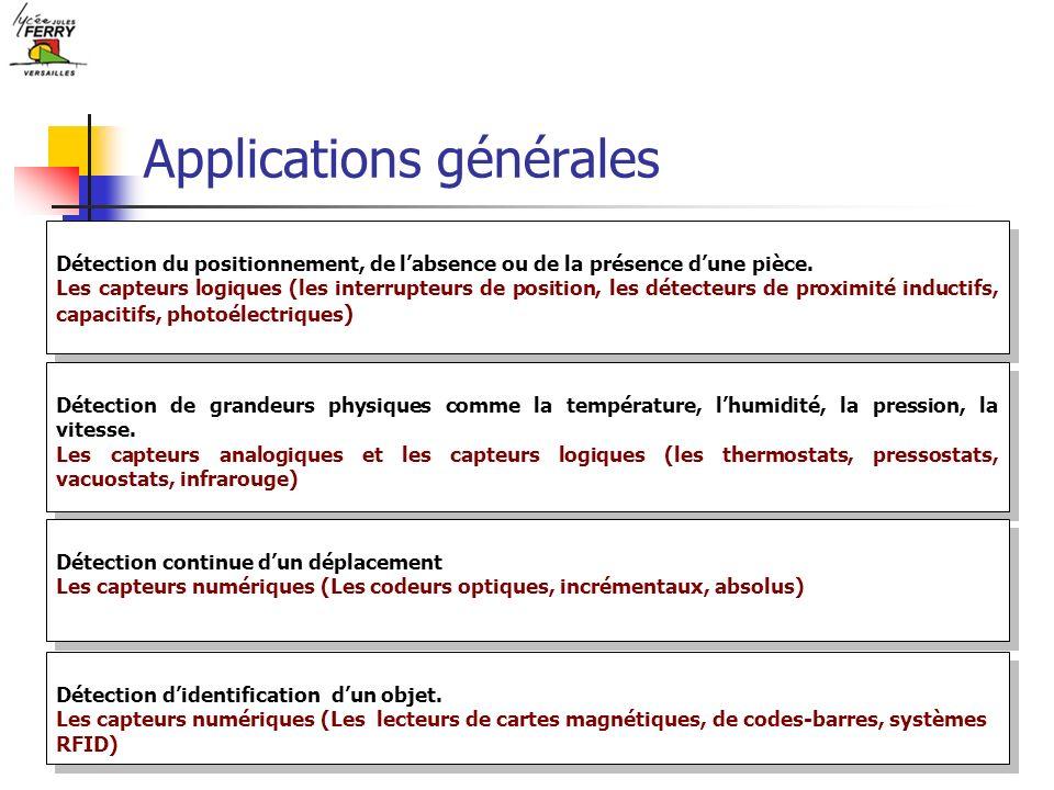 Applications générales Détection du positionnement, de labsence ou de la présence dune pièce. Les capteurs logiques (les interrupteurs de position, le