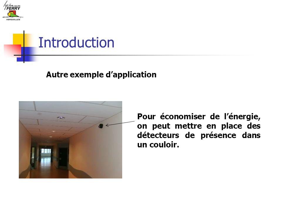 Introduction Autre exemple dapplication Pour économiser de lénergie, on peut mettre en place des détecteurs de présence dans un couloir.