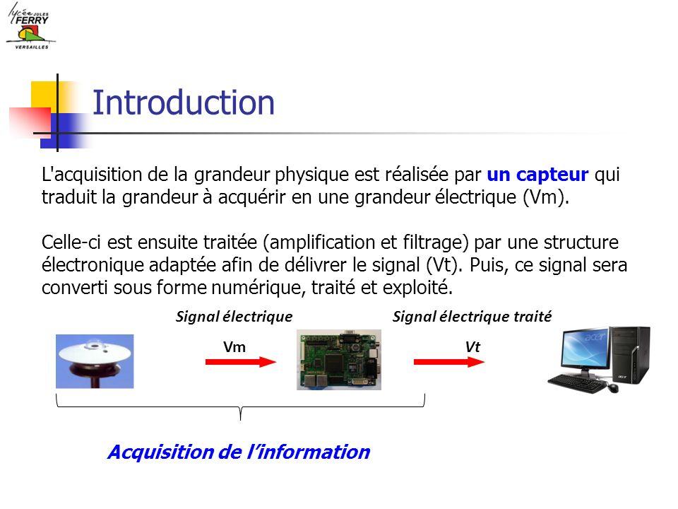 Introduction L'acquisition de la grandeur physique est réalisée par un capteur qui traduit la grandeur à acquérir en une grandeur électrique (Vm). Cel