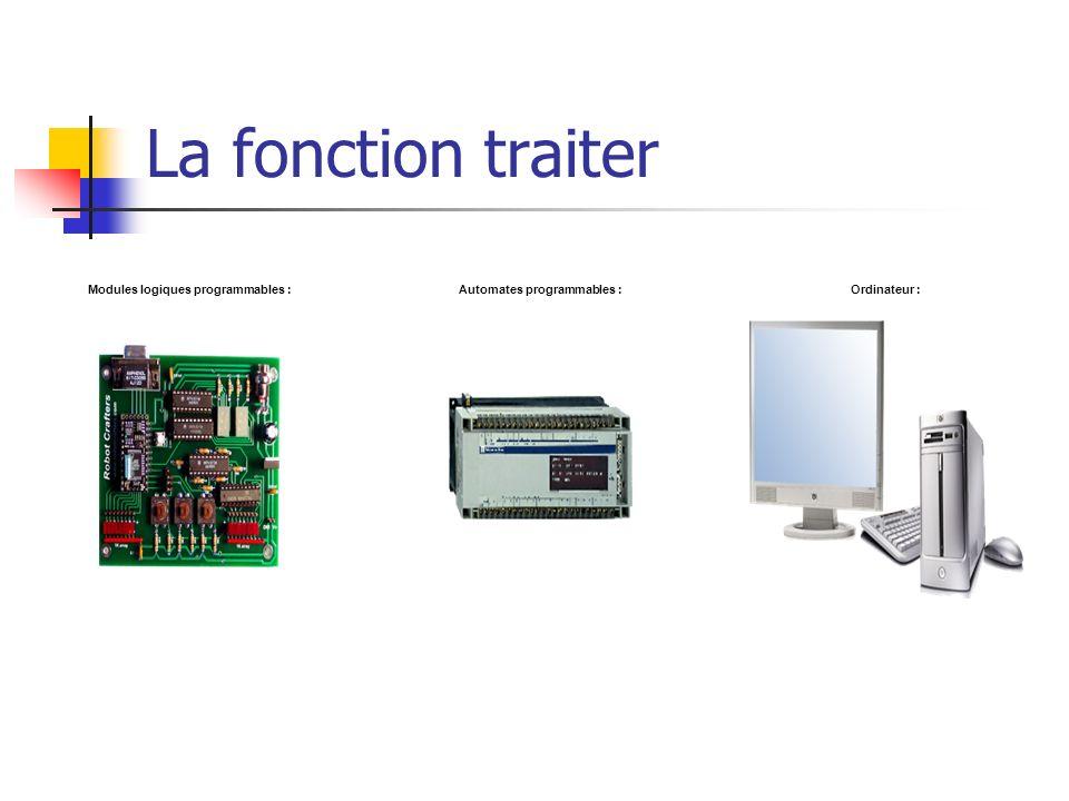 La fonction traiter Modules logiques programmables :Automates programmables :Ordinateur :