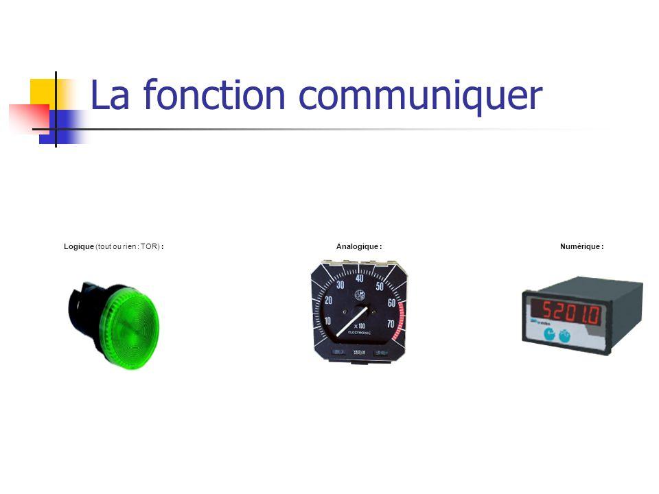 La fonction communiquer Numérique :Analogique :Logique (tout ou rien : TOR) :