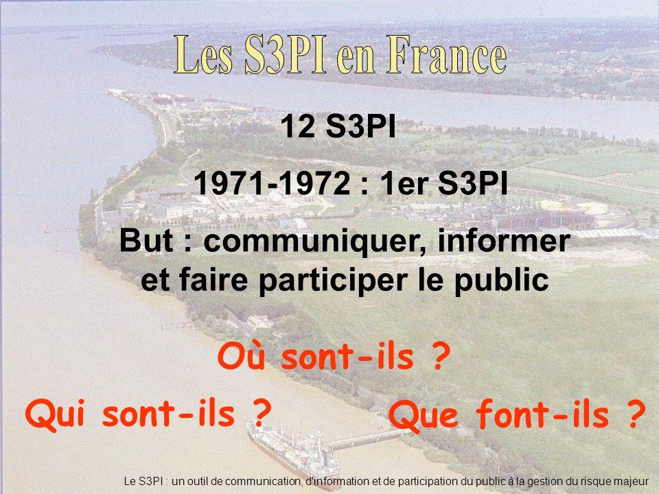 Qui sont-ils ? Que font-ils ? 12 S3PI 1971-1972 : 1er S3PI But : communiquer, informer et faire participer le public Où sont-ils ?