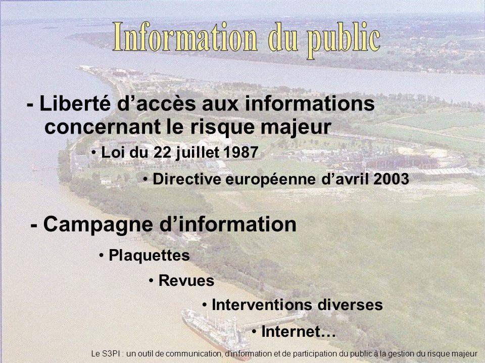 Le S3PI : un outil de communication, d'information et de participation du public à la gestion du risque majeur - Liberté daccès aux informations conce