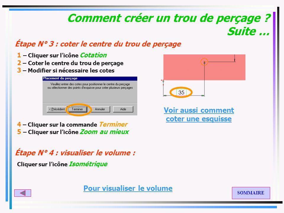Exemple : un parallélépipède Étape N° 1 : créer le volume Étape N° 2 : créer un trou de perçage : 1 – Cliquer sur licône de la vue désirée : 2 – Cliqu