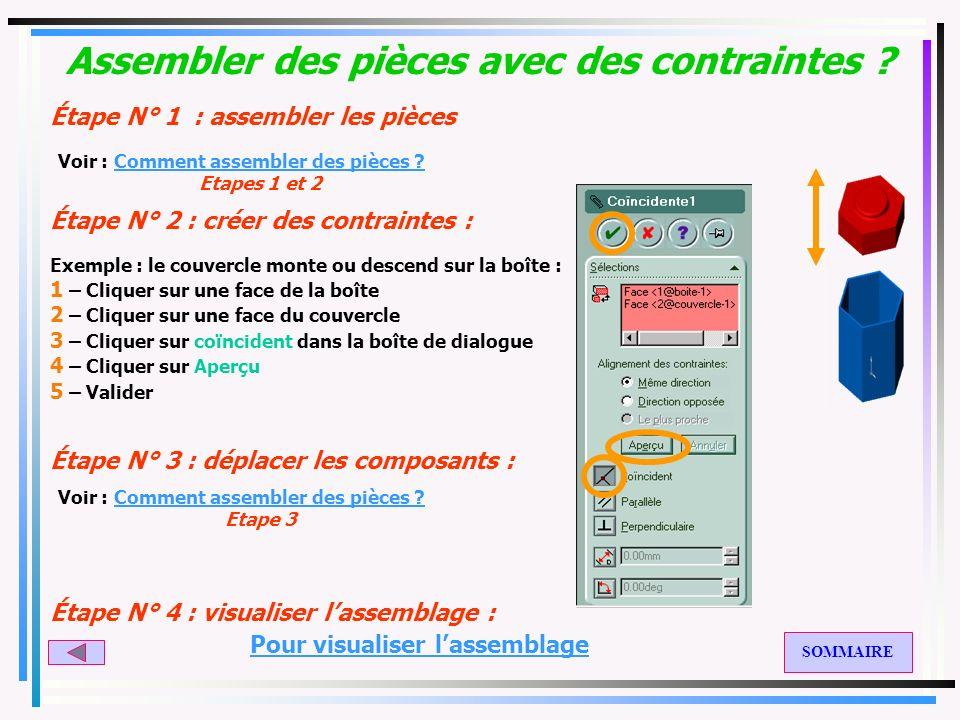 Comment assembler des pièces ? Étape N° 1 : créer un nouveau document dassemblage 1 – Cliquer sur le menu Insertion puis Composant puis Depuis un fich