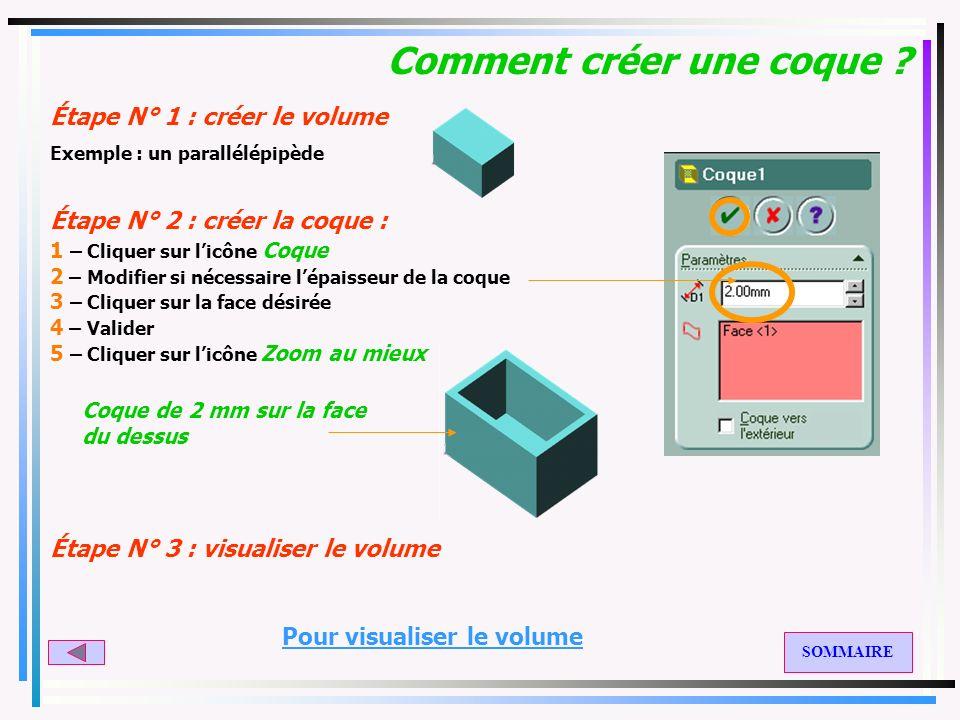 Comment créer un chanfrein ? Étape N° 1 : créer le volume Étape N° 2 : créer les chanfreins : 1 – Cliquer sur licône Chanfrein 2 – Modifier si nécessa