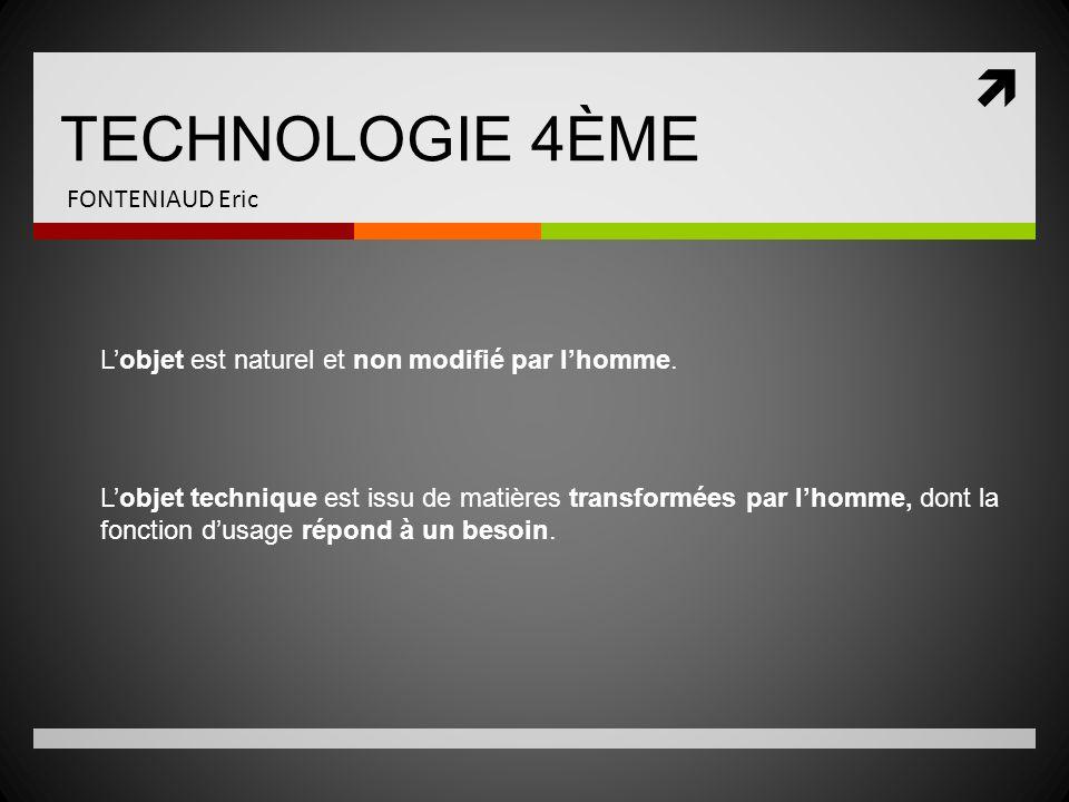 TECHNOLOGIE 4ÈME FONTENIAUD Eric RAPPEL : Fonction dusage / Fonction destime .