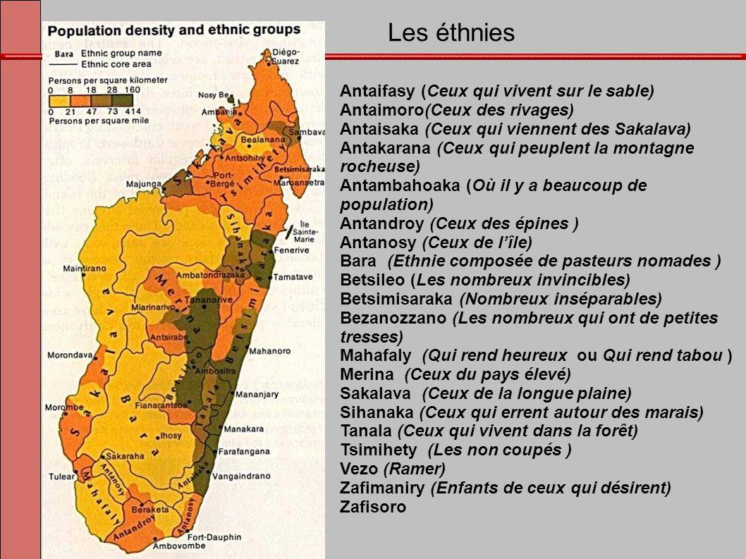 Les éthnies Antaifasy (Ceux qui vivent sur le sable) Antaimoro(Ceux des rivages) Antaisaka (Ceux qui viennent des Sakalava) Antakarana (Ceux qui peupl