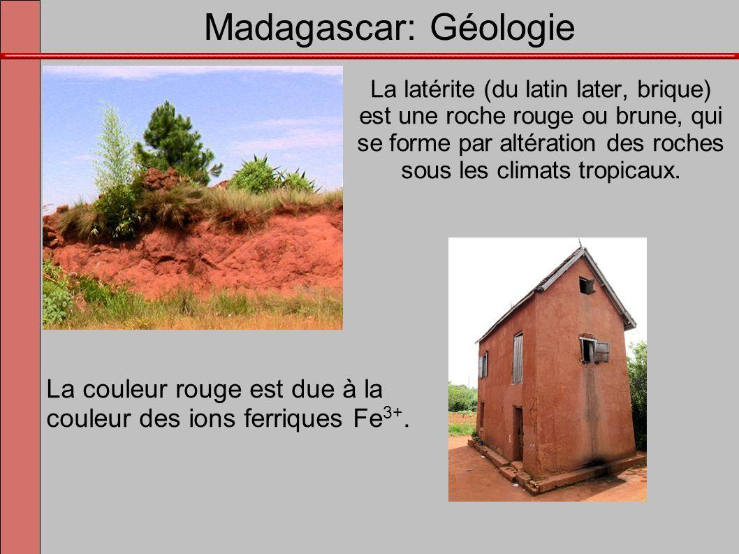La latérite (du latin later, brique) est une roche rouge ou brune, qui se forme par altération des roches sous les climats tropicaux. La couleur rouge