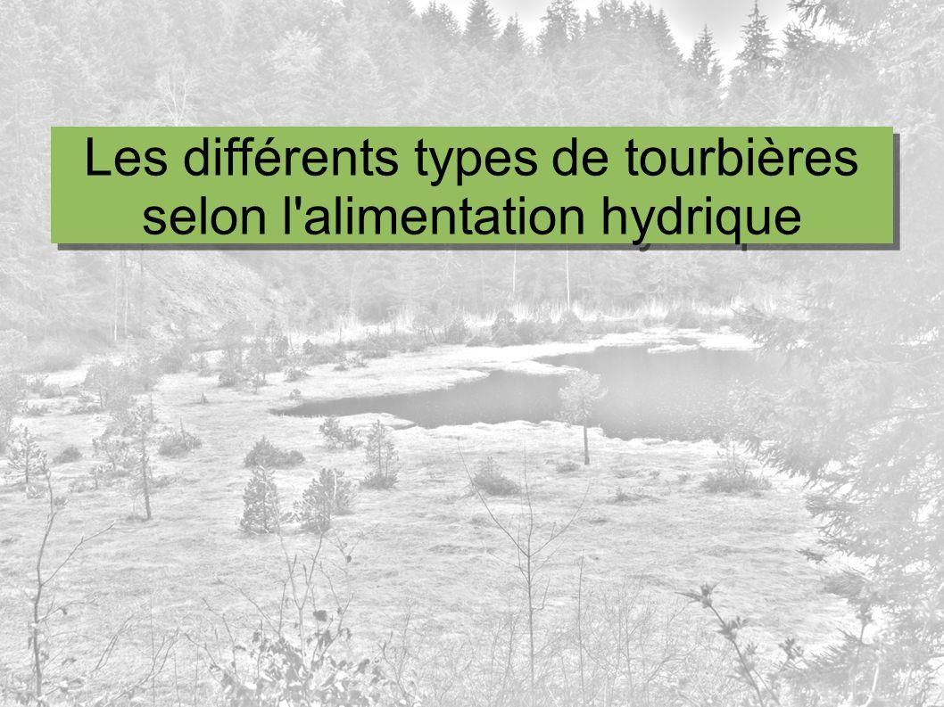 Les différents types de tourbières selon l'alimentation hydrique