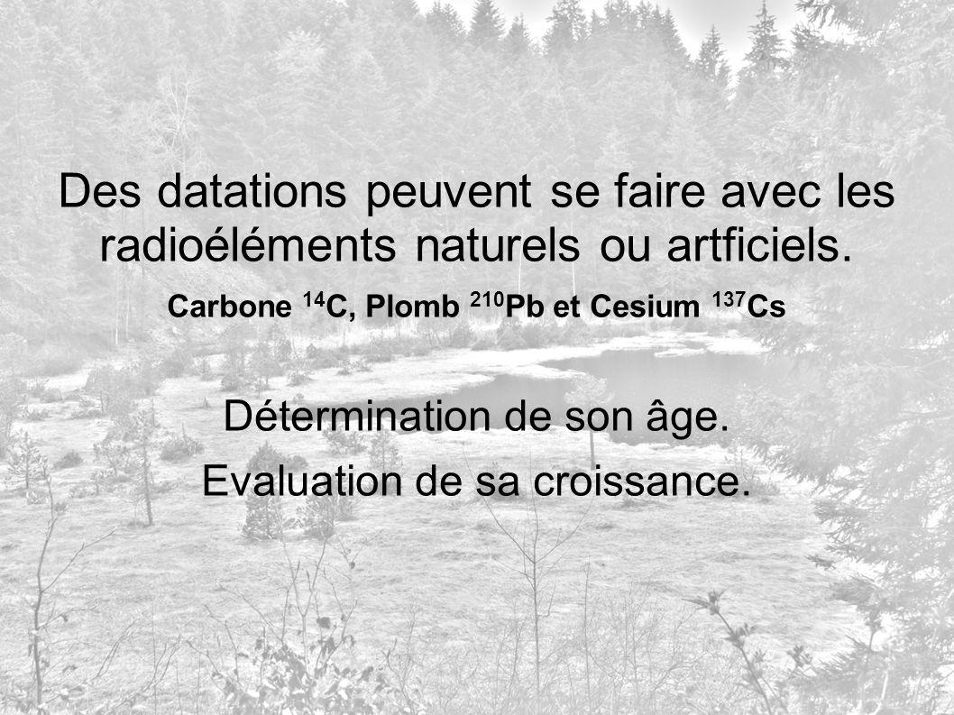 Des datations peuvent se faire avec les radioéléments naturels ou artficiels. Carbone 14 C, Plomb 210 Pb et Cesium 137 Cs Détermination de son âge. Ev