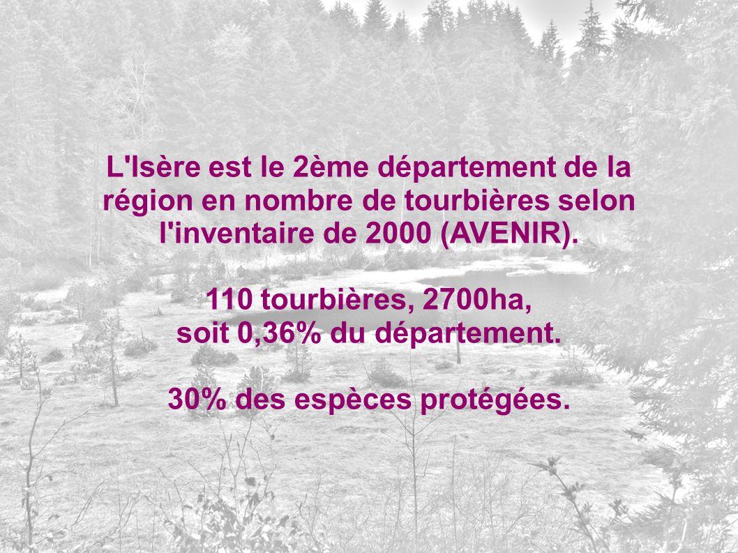 L'Isère est le 2ème département de la région en nombre de tourbières selon l'inventaire de 2000 (AVENIR). 110 tourbières, 2700ha, soit 0,36% du départ