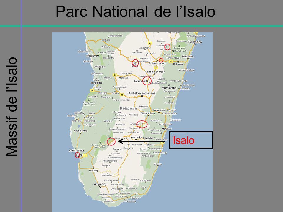 Le parc national de lIsalo recoupe les limites du massif du même nom (81 540 ha), formation de grés jurassiques dont laltitude varie de 515 m à 1268m.