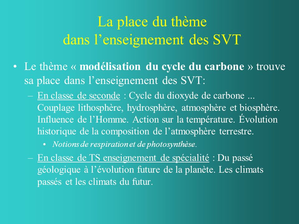 La place du thème dans lenseignement des SVT Le thème « modélisation du cycle du carbone » trouve sa place dans lenseignement des SVT: –En classe de seconde : Cycle du dioxyde de carbone...