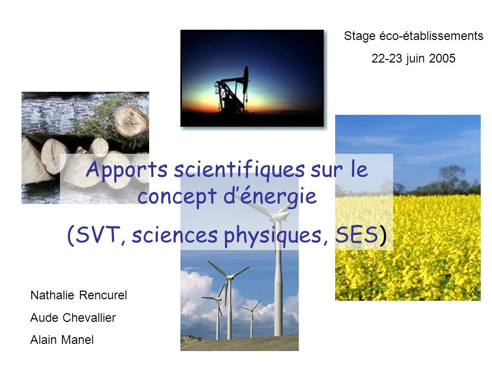 Apports scientifiques sur le concept dénergie (SVT, sciences physiques, SES) Nathalie Rencurel Aude Chevallier Alain Manel Stage éco-établissements 22