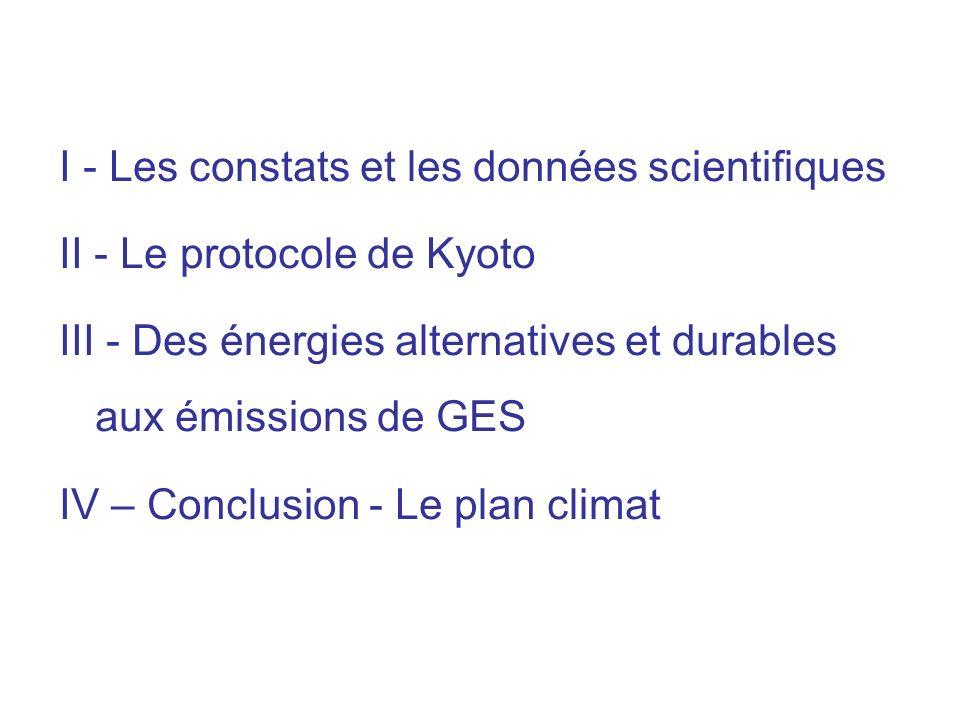 Historique 1972 : sujet abordé à Stockholm à la conférence mondiale sur lenvironnement 1979 : première conférence mondiale sur le climat 1988 : création du GIEC (groupe intergouvernemental sur lévolution du climat) 1990 : premier rapport du GIEC 1992 : conférence de Rio qui envisage du quantifier les droits démission de GES 1995 : second rapport du GIEC 1997 : protocole de Kyoto qui distribue pour chaque pays – en référence aux émissions de 1990 – les quantités démissions autorisées sur 2008-2012 Le protocole de Kyoto