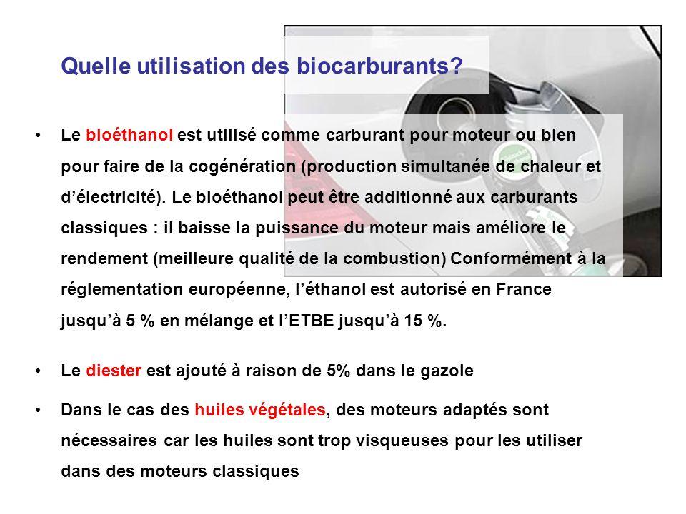 Le bioéthanol est utilisé comme carburant pour moteur ou bien pour faire de la cogénération (production simultanée de chaleur et délectricité). Le bio