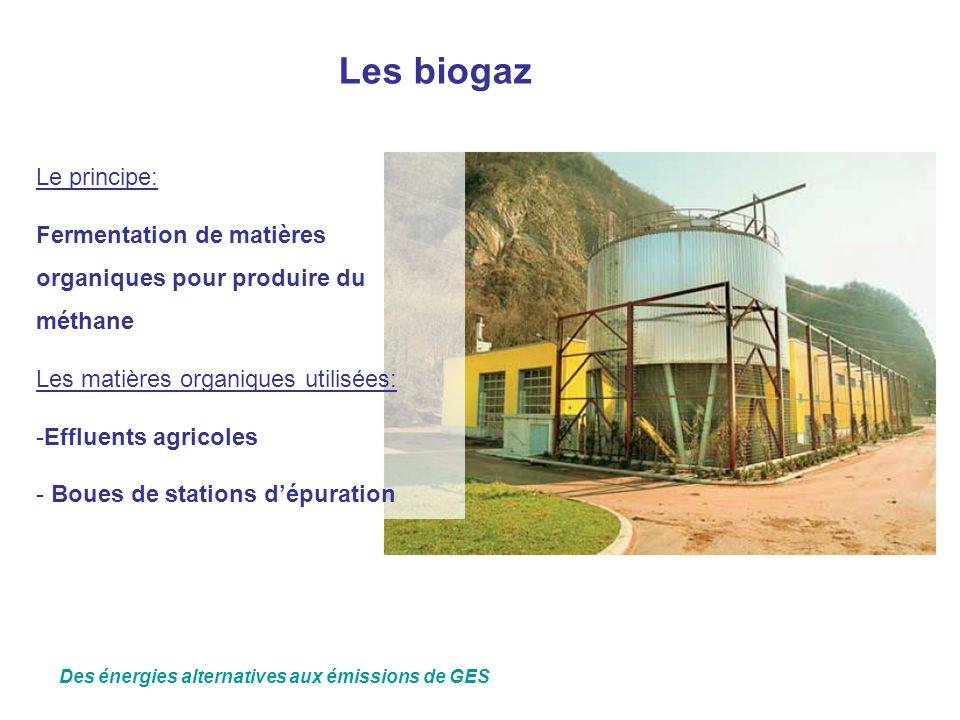 Les biogaz Le principe: Fermentation de matières organiques pour produire du méthane Les matières organiques utilisées: -Effluents agricoles - Boues d
