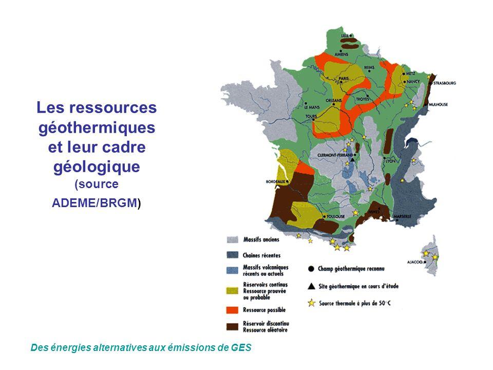 Les ressources géothermiques et leur cadre géologique (source ADEME/BRGM) Des énergies alternatives aux émissions de GES