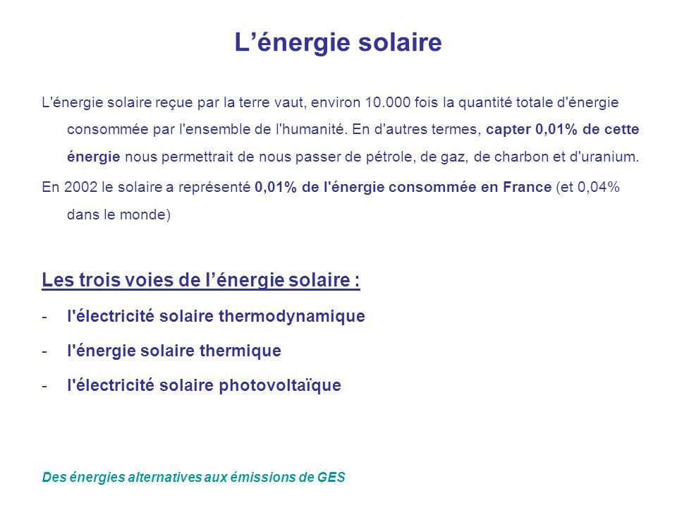 Lénergie solaire L'énergie solaire reçue par la terre vaut, environ 10.000 fois la quantité totale d'énergie consommée par l'ensemble de l'humanité. E