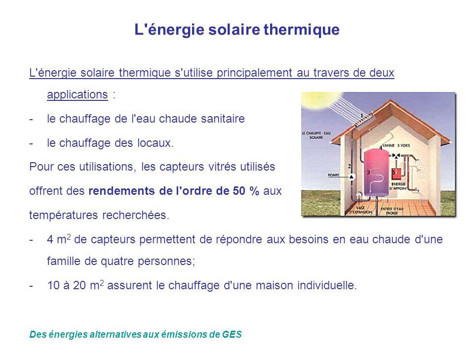 L'énergie solaire thermique L'énergie solaire thermique s'utilise principalement au travers de deux applications : -le chauffage de l'eau chaude sanit