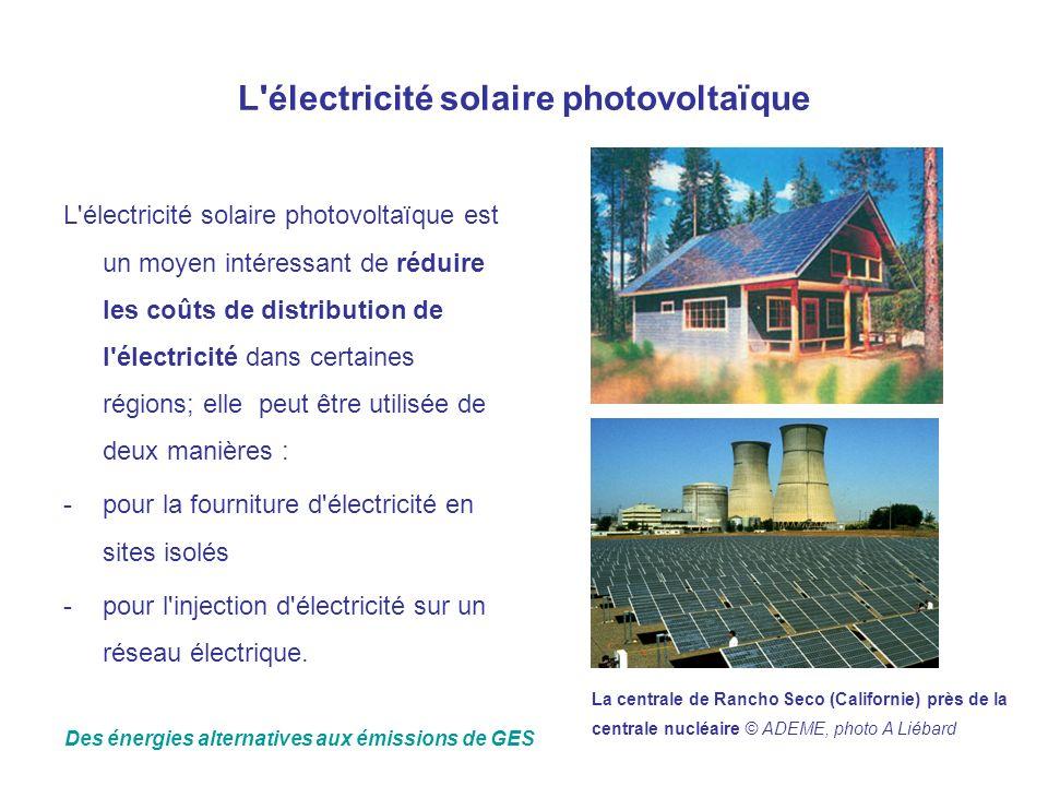 L'électricité solaire photovoltaïque L'électricité solaire photovoltaïque est un moyen intéressant de réduire les coûts de distribution de l'électrici