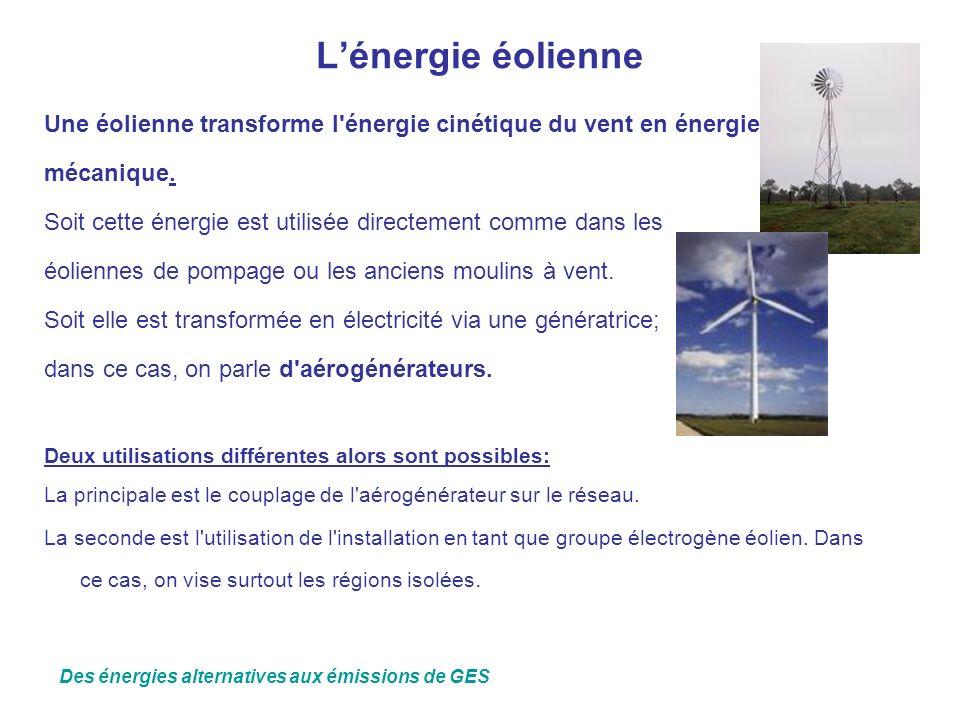 Lénergie éolienne Une éolienne transforme l'énergie cinétique du vent en énergie mécanique. Soit cette énergie est utilisée directement comme dans les