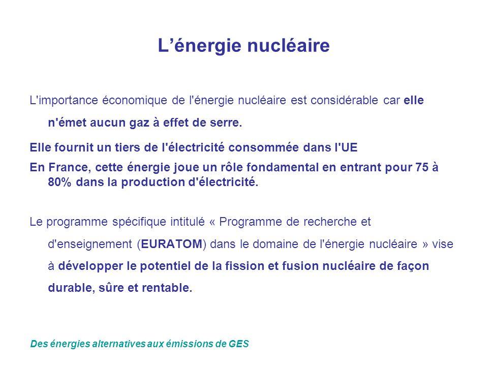 Lénergie nucléaire L'importance économique de l'énergie nucléaire est considérable car elle n'émet aucun gaz à effet de serre. Elle fournit un tiers d