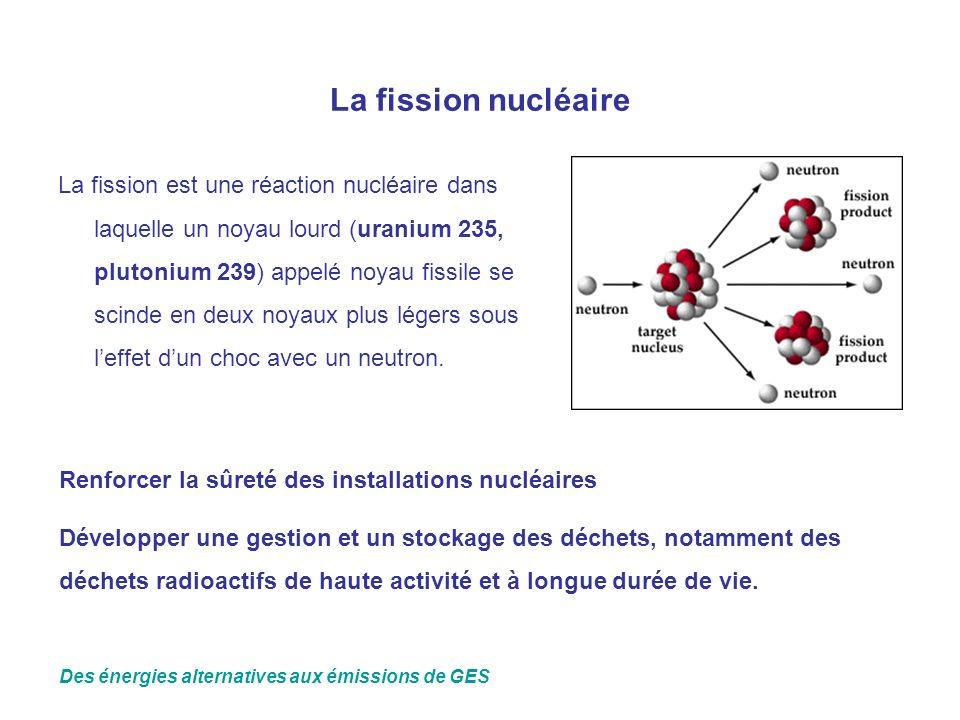 La fission nucléaire La fission est une réaction nucléaire dans laquelle un noyau lourd (uranium 235, plutonium 239) appelé noyau fissile se scinde en