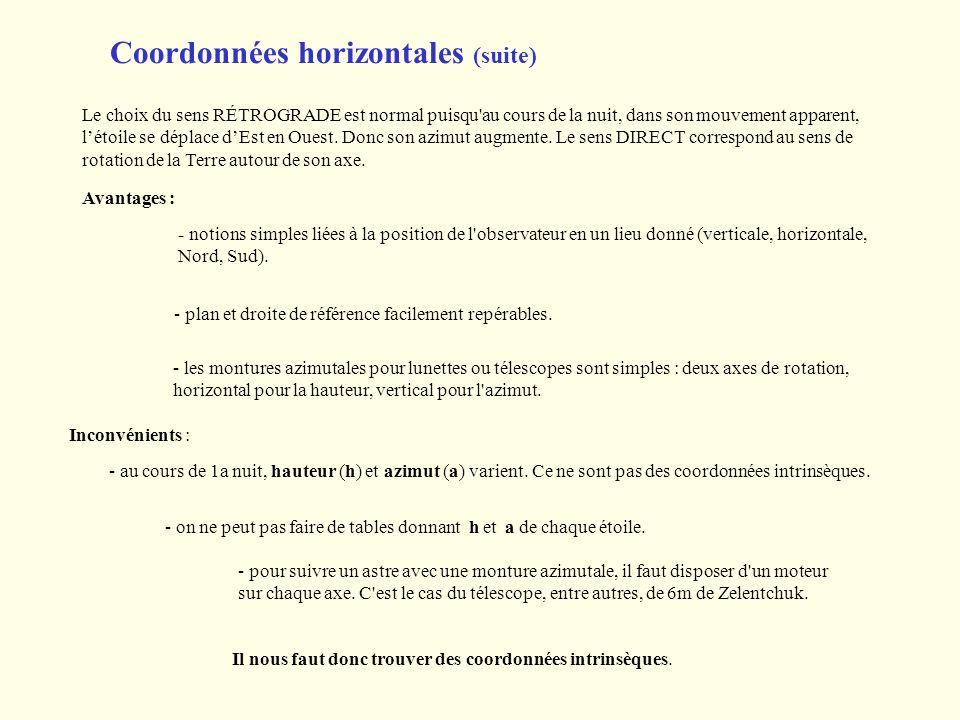 Coordonnées horizontales (suite) Il nous faut donc trouver des coordonnées intrinsèques. Le choix du sens RÉTROGRADE est normal puisqu'au cours de la
