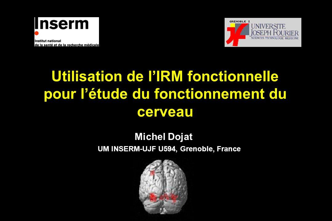 Utilisation de lIRM fonctionnelle pour létude du fonctionnement du cerveau Michel Dojat UM INSERM-UJF U594, Grenoble, France