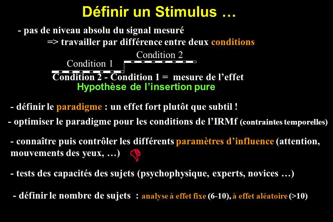Définir un Stimulus … - définir le paradigme : un effet fort plutôt que subtil .
