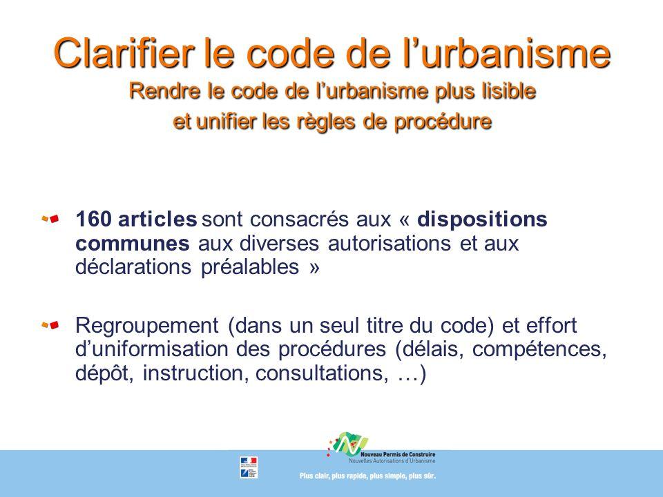 Clarifier le code de lurbanisme Rendre le code de lurbanisme plus lisible et unifier les règles de procédure 160 articles sont consacrés aux « disposi