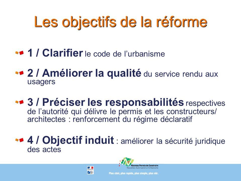 Les objectifs de la réforme 1 / Clarifier le code de lurbanisme 2 / Améliorer la qualité du service rendu aux usagers 3 / Préciser les responsabilités